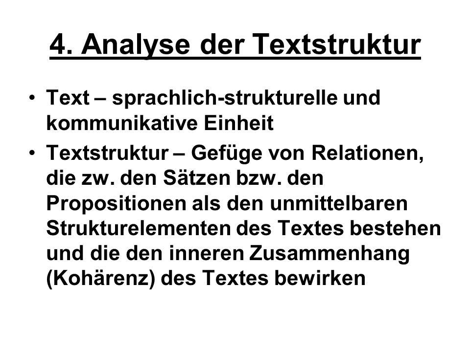 4. Analyse der Textstruktur Text – sprachlich-strukturelle und kommunikative Einheit Textstruktur – Gefüge von Relationen, die zw. den Sätzen bzw. den