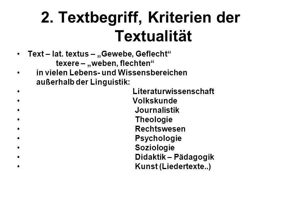 2. Textbegriff, Kriterien der Textualität Text – lat. textus – Gewebe, Geflecht texere – weben, flechten in vielen Lebens- und Wissensbereichen außerh