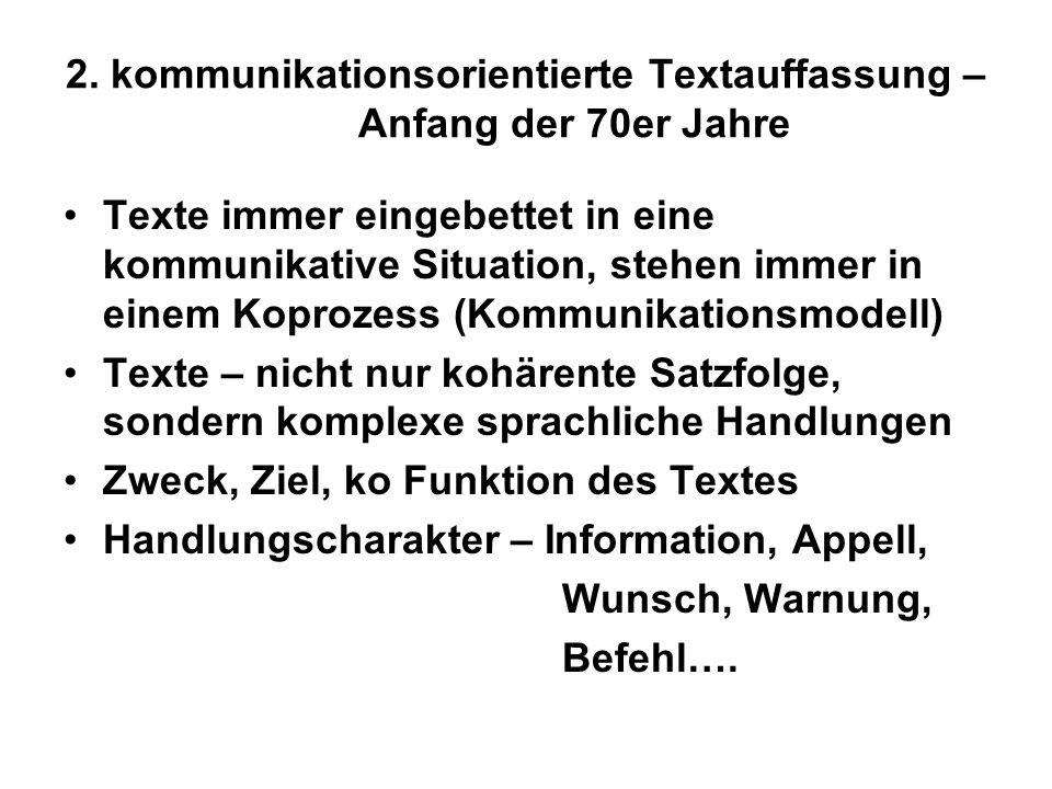 Integrativer Textbegriff: beide Textauffassungen komplementär Text – sprachlich-strukturelle + kommunikative Einheit Der Terminus Text bezeichnet eine begrenzte Folge von SZ, die in sich kohärent ist und als Ganzes eine erkennbare kommunikative Funktion signalisiert.
