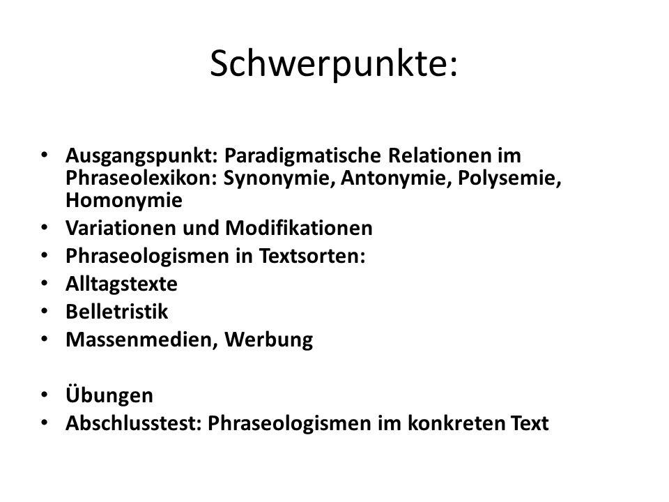 Zu 1: Synonymie im Phraseolexikon: Reiche Synonymik aus onomasiologischer Sicht: Emotionen, physische u.