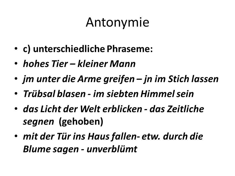Polysemie und Homonymie den Kanal vollhaben: 1.einer Sache überdrüssig sein 2.