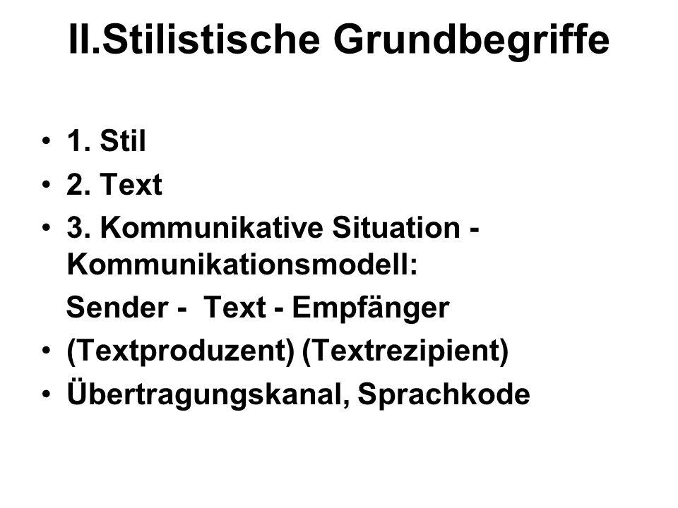 II.Stilistische Grundbegriffe 1. Stil 2. Text 3. Kommunikative Situation - Kommunikationsmodell: Sender - Text - Empfänger (Textproduzent) (Textrezipi