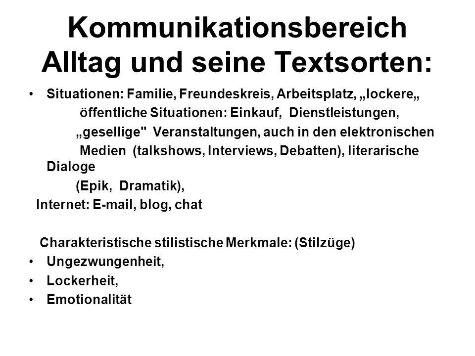 Textsorten: Gespräch (Dialog), auch privater Brief, Tagebuch, chat, e-mail, blogs: Diskussionsforum im Internet Kommunikationsform (Medium): meistens mündlich (Face-to- Face-Gespräch, Telefongespräch, Handy, auch schriftlich: Brieform, e-mail, SMS, Tagebucheintragungen, Online- Tagebücher – Blogs Funktion: Informieren, Appellieren, Kontaktherstellung Komposition: Dialog: Frage-Antwort-Sequenzen