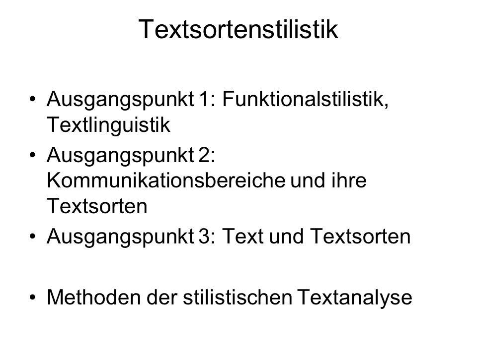 Textsortenstilistik Ausgangspunkt 1: Funktionalstilistik, Textlinguistik Ausgangspunkt 2: Kommunikationsbereiche und ihre Textsorten Ausgangspunkt 3: