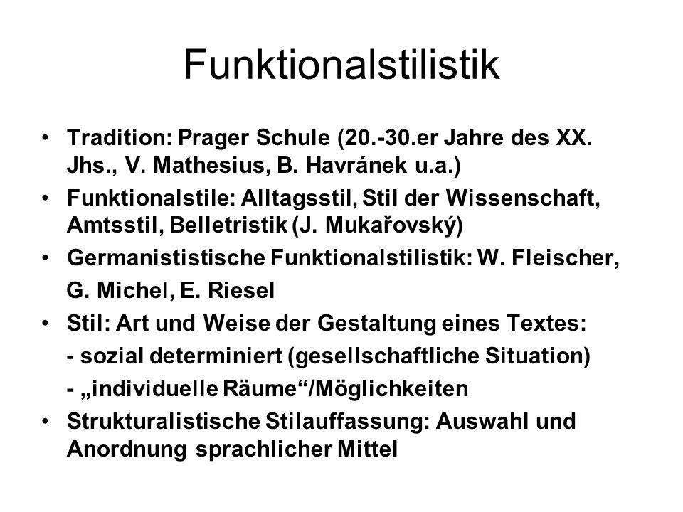 Funktionalstilistik Tradition: Prager Schule (20.-30.er Jahre des XX. Jhs., V. Mathesius, B. Havránek u.a.) Funktionalstile: Alltagsstil, Stil der Wis