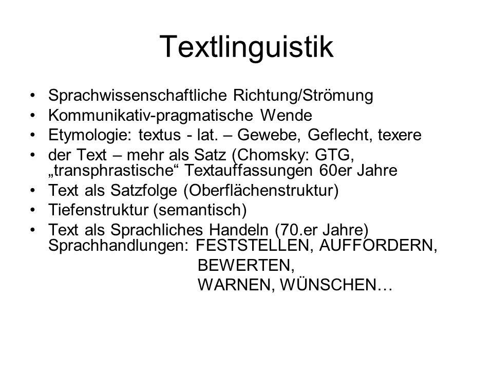 Textlinguistik Sprachwissenschaftliche Richtung/Strömung Kommunikativ-pragmatische Wende Etymologie: textus - lat. – Gewebe, Geflecht, texere der Text