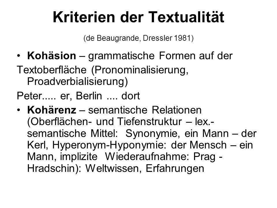 Kriterien der Textualität (de Beaugrande, Dressler 1981) Kohäsion – grammatische Formen auf der Textoberfläche (Pronominalisierung, Proadverbialisieru