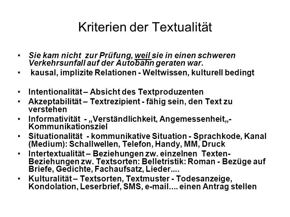 Stilistik und Textlinguistik Beziehung zw.der Textlinguistik u.