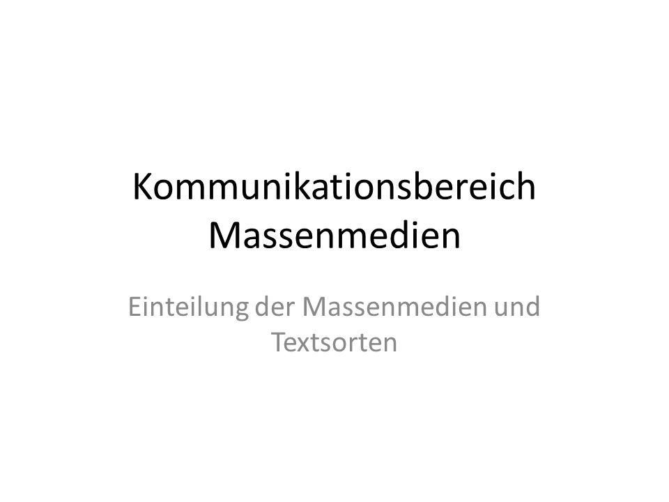 Kommunikationsbereich Massenmedien Einteilung der Massenmedien und Textsorten
