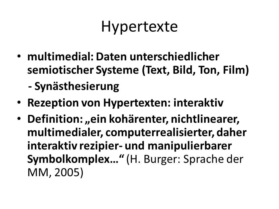 Hypertexte multimedial: Daten unterschiedlicher semiotischer Systeme (Text, Bild, Ton, Film) - Synästhesierung Rezeption von Hypertexten: interaktiv D