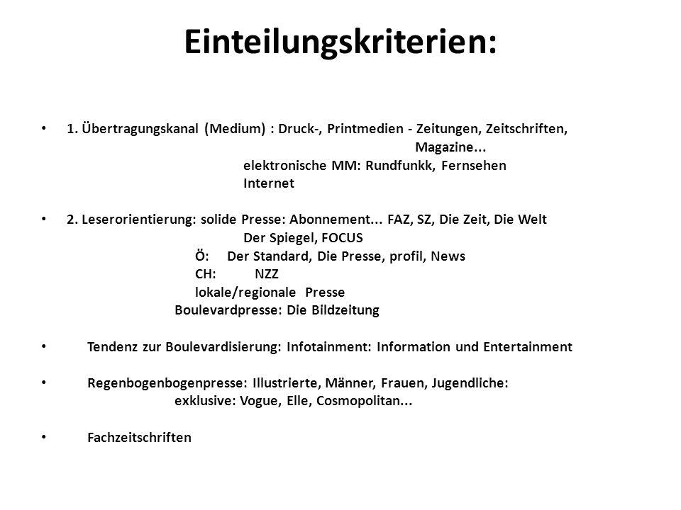 Einteilungskriterien: 1. Übertragungskanal (Medium) : Druck-, Printmedien - Zeitungen, Zeitschriften, Magazine... elektronische MM: Rundfunkk, Fernseh