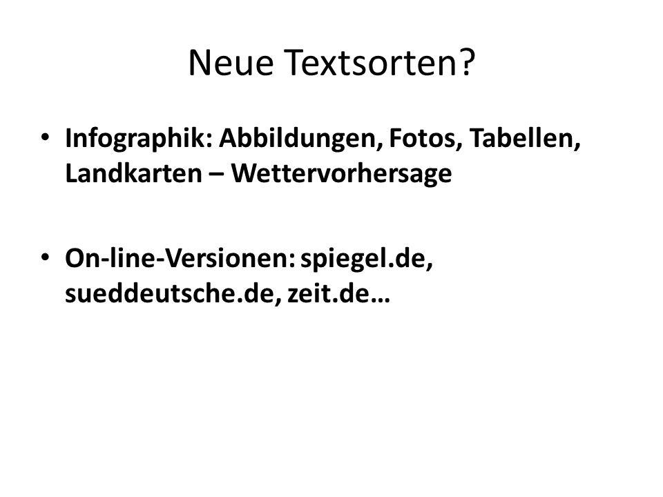 Neue Textsorten? Infographik: Abbildungen, Fotos, Tabellen, Landkarten – Wettervorhersage On-line-Versionen: spiegel.de, sueddeutsche.de, zeit.de…