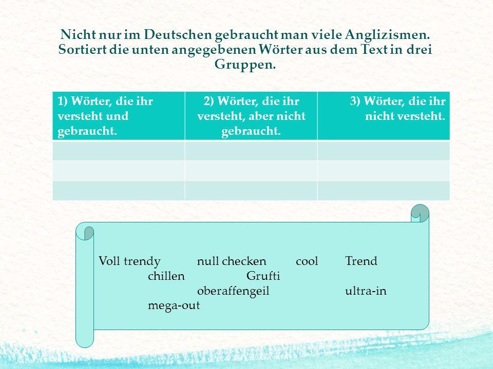 1) Wörter, die ihr versteht und gebraucht. 2) Wörter, die ihr versteht, aber nicht gebraucht. 3) Wörter, die ihr nicht versteht. Nicht nur im Deutsche