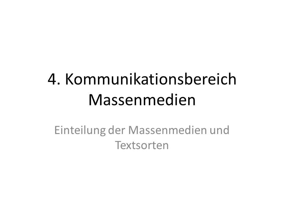 4. Kommunikationsbereich Massenmedien Einteilung der Massenmedien und Textsorten