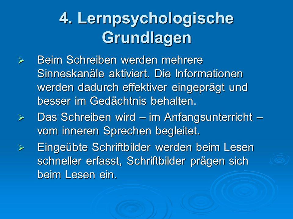 4. Lernpsychologische Grundlagen Beim Schreiben werden mehrere Sinneskanäle aktiviert. Die Informationen werden dadurch effektiver eingeprägt und bess