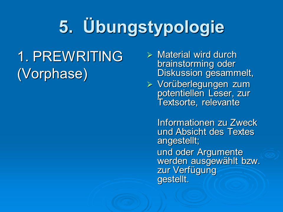 5. Übungstypologie 1. PREWRITING (Vorphase) Material wird durch brainstorming oder Diskussion gesammelt, Material wird durch brainstorming oder Diskus