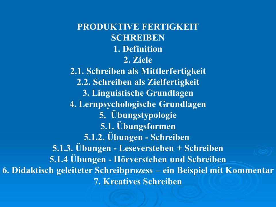 PRODUKTIVE FERTIGKEIT SCHREIBEN 1. Definition 2. Ziele 2.1. Schreiben als Mittlerfertigkeit 2.2. Schreiben als Zielfertigkeit 3. Linguistische Grundla