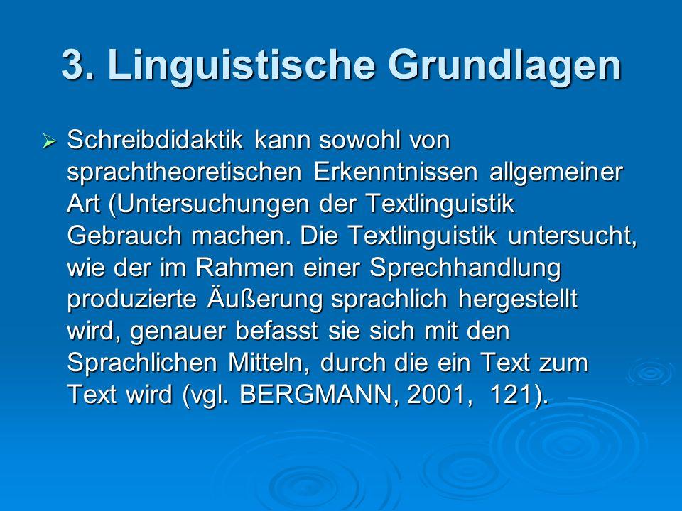 3. Linguistische Grundlagen Schreibdidaktik kann sowohl von sprachtheoretischen Erkenntnissen allgemeiner Art (Untersuchungen der Textlinguistik Gebra