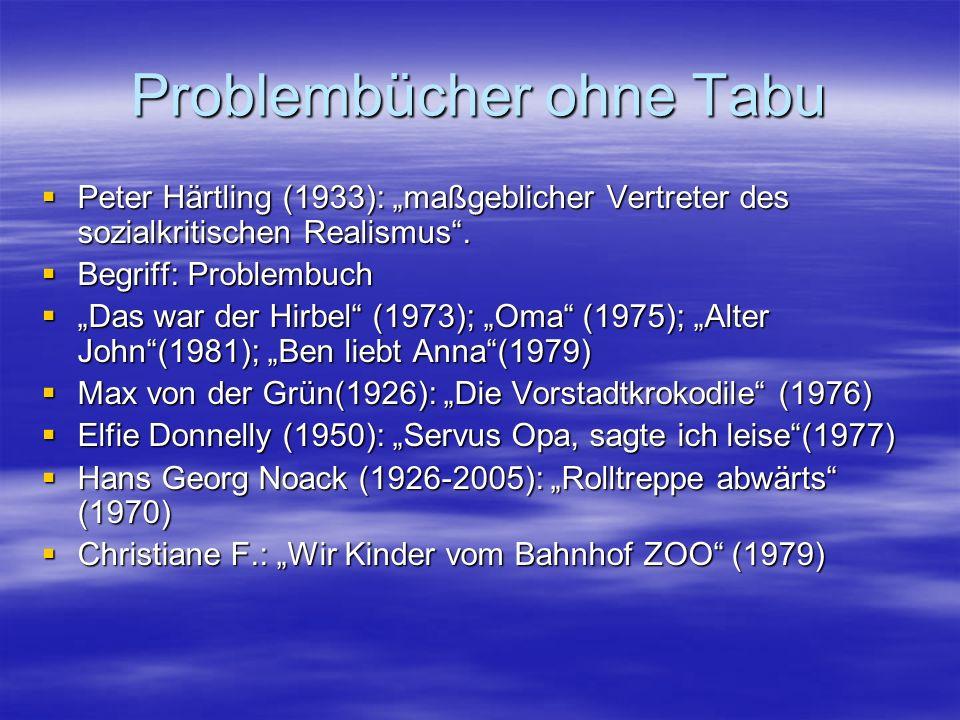 Problembücher ohne Tabu Peter Härtling (1933): maßgeblicher Vertreter des sozialkritischen Realismus. Peter Härtling (1933): maßgeblicher Vertreter de