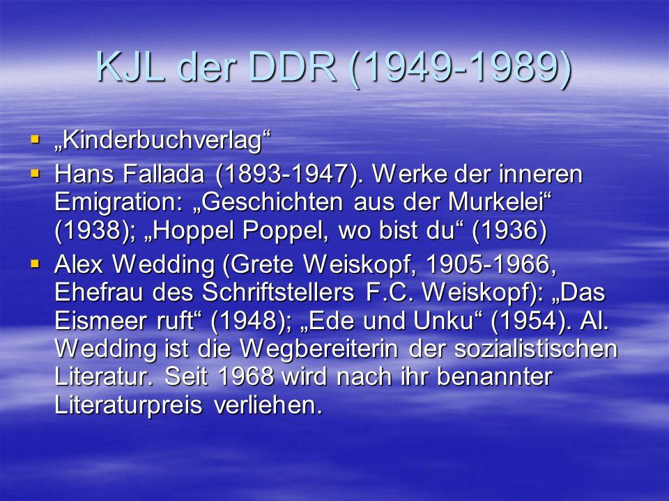 KJL der DDR (1949-1989) Kinderbuchverlag Kinderbuchverlag Hans Fallada (1893-1947). Werke der inneren Emigration: Geschichten aus der Murkelei (1938);