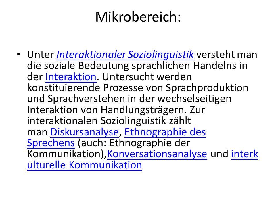 Mikrobereich: Unter Interaktionaler Soziolinguistik versteht man die soziale Bedeutung sprachlichen Handelns in der Interaktion. Untersucht werden kon