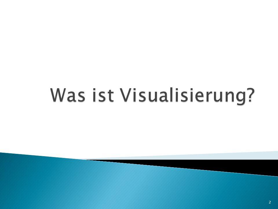 Mittels Visualisierung (Veranschaulichung) werden abstrakte Daten oder Fakten in eine graphisch bzw.