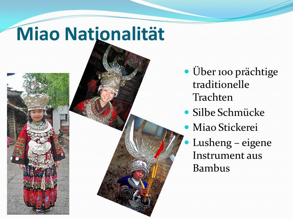 Miao Nationalität Über 100 prächtige traditionelle Trachten Silbe Schmücke Miao Stickerei Lusheng – eigene Instrument aus Bambus
