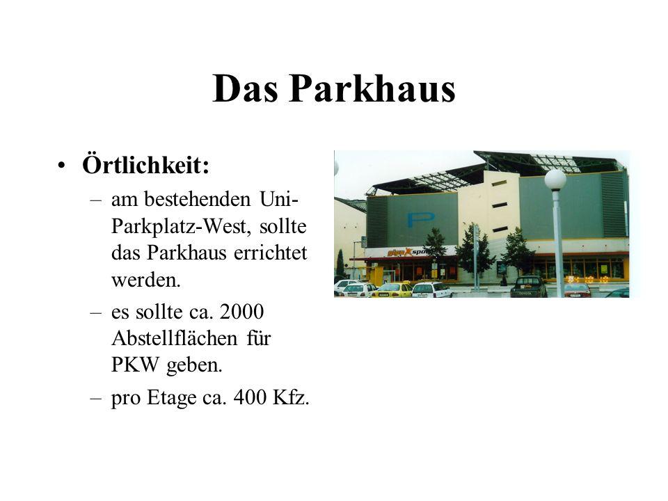 Das Parkhaus Örtlichkeit: –am bestehenden Uni- Parkplatz-West, sollte das Parkhaus errichtet werden. –es sollte ca. 2000 Abstellflächen für PKW geben.
