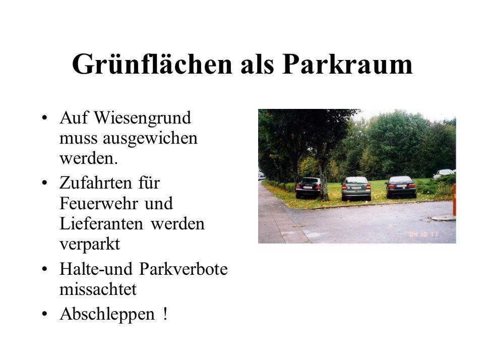 Grünflächen als Parkraum Auf Wiesengrund muss ausgewichen werden. Zufahrten für Feuerwehr und Lieferanten werden verparkt Halte-und Parkverbote missac