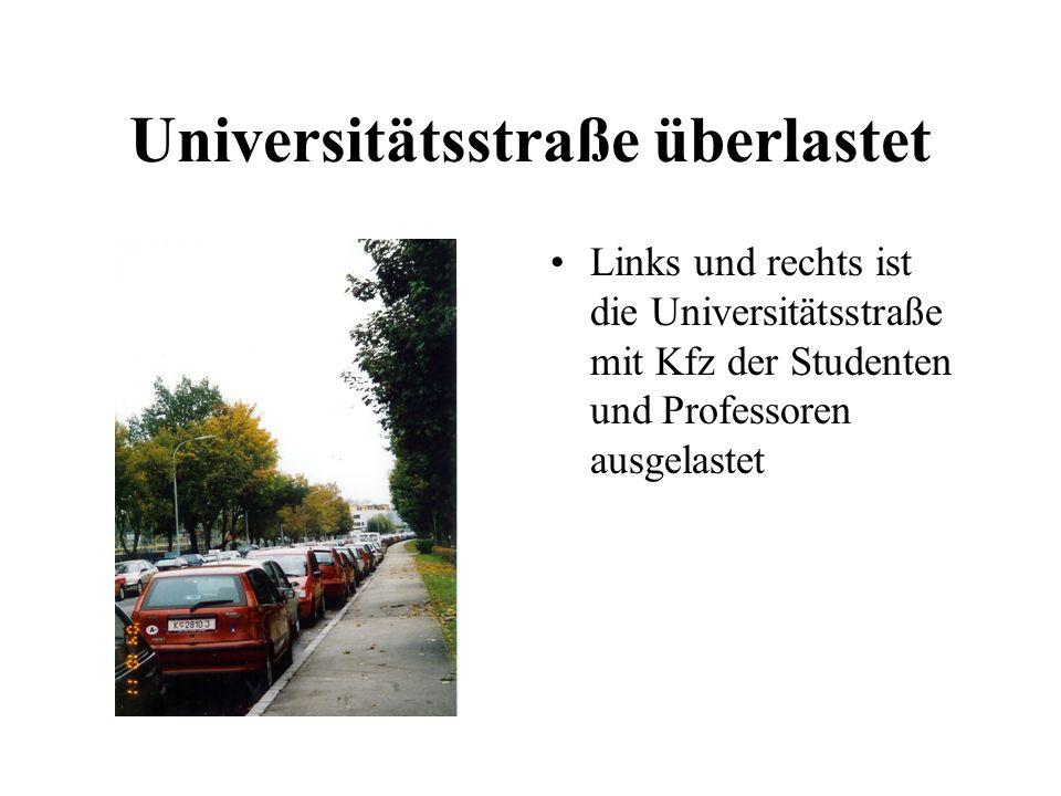 Universitätsstraße überlastet Links und rechts ist die Universitätsstraße mit Kfz der Studenten und Professoren ausgelastet