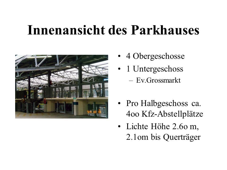 Innenansicht des Parkhauses 4 Obergeschosse 1 Untergeschoss –Ev.Grossmarkt Pro Halbgeschoss ca. 4oo Kfz-Abstellplätze Lichte Höhe 2.6o m, 2.1om bis Qu
