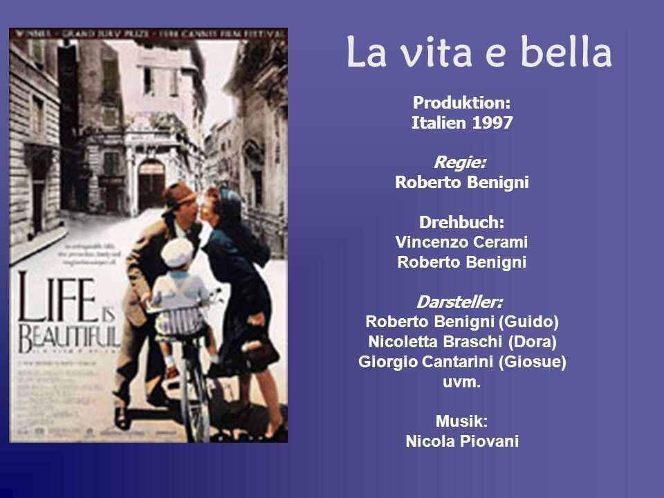 Produktion: Italien 1997 Regie: Roberto Benigni Drehbuch: Vincenzo Cerami Roberto Benigni Darsteller: Roberto Benigni (Guido) Nicoletta Braschi (Dora)