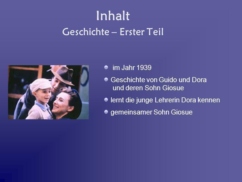 Inhalt im Jahr 1939 Geschichte von Guido und Dora und deren Sohn Giosue lernt die junge Lehrerin Dora kennen gemeinsamer Sohn Giosue Geschichte – Erst