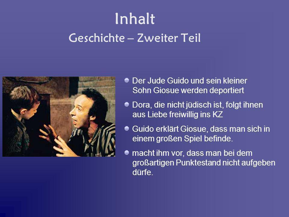 Inhalt Der Jude Guido und sein kleiner Sohn Giosue werden deportiert Dora, die nicht jüdisch ist, folgt ihnen aus Liebe freiwillig ins KZ Guido erklär