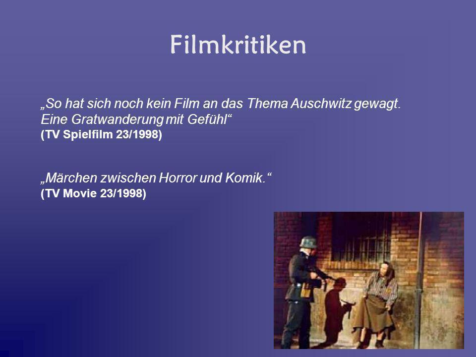 So hat sich noch kein Film an das Thema Auschwitz gewagt. Eine Gratwanderung mit Gefühl (TV Spielfilm 23/1998) Märchen zwischen Horror und Komik. (TV