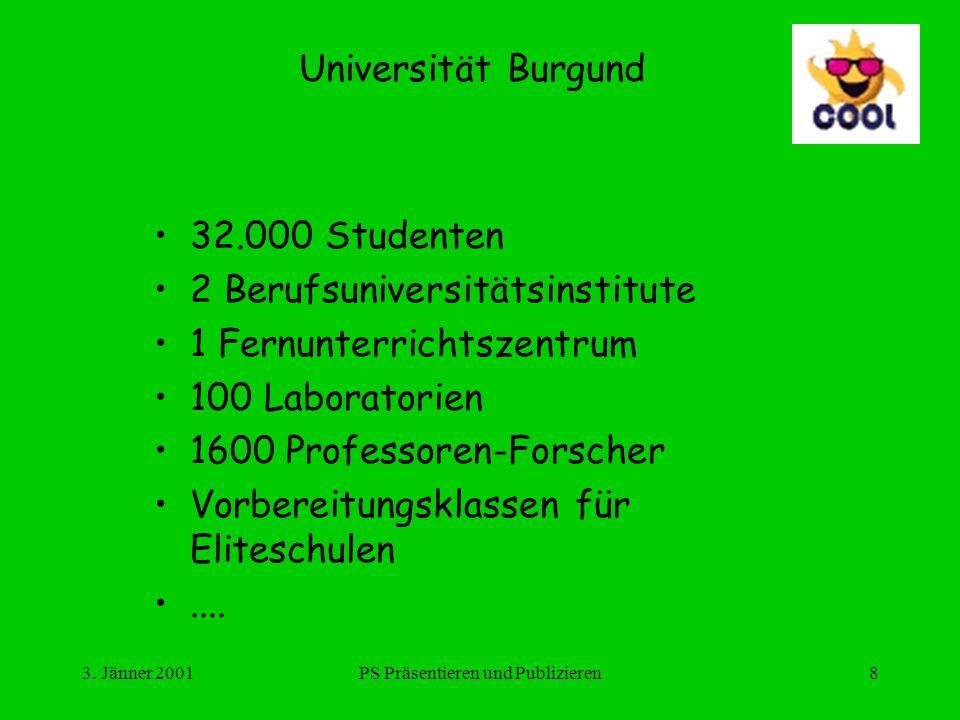 3. Jänner 2001PS Präsentieren und Publizieren8 Universität Burgund 32.000 Studenten 2 Berufsuniversitätsinstitute 1 Fernunterrichtszentrum 100 Laborat