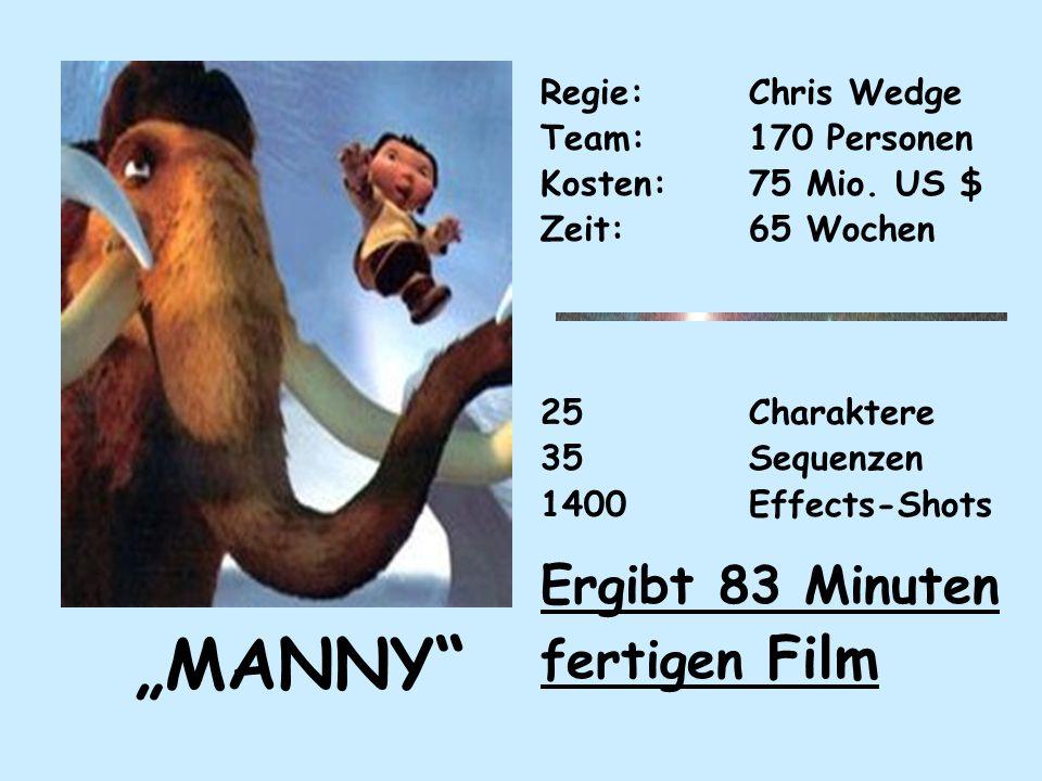 MANNY Regie: Chris Wedge Team:170 Personen Kosten:75 Mio.