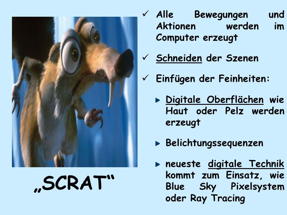 SCRAT Alle Bewegungen und Aktionen werden im Computer erzeugt Schneiden der Szenen Einfügen der Feinheiten: Digitale Oberflächen wie Haut oder Pelz werden erzeugt Belichtungssequenzen neueste digitale Technik kommt zum Einsatz, wie Blue Sky Pixelsystem oder Ray Tracing