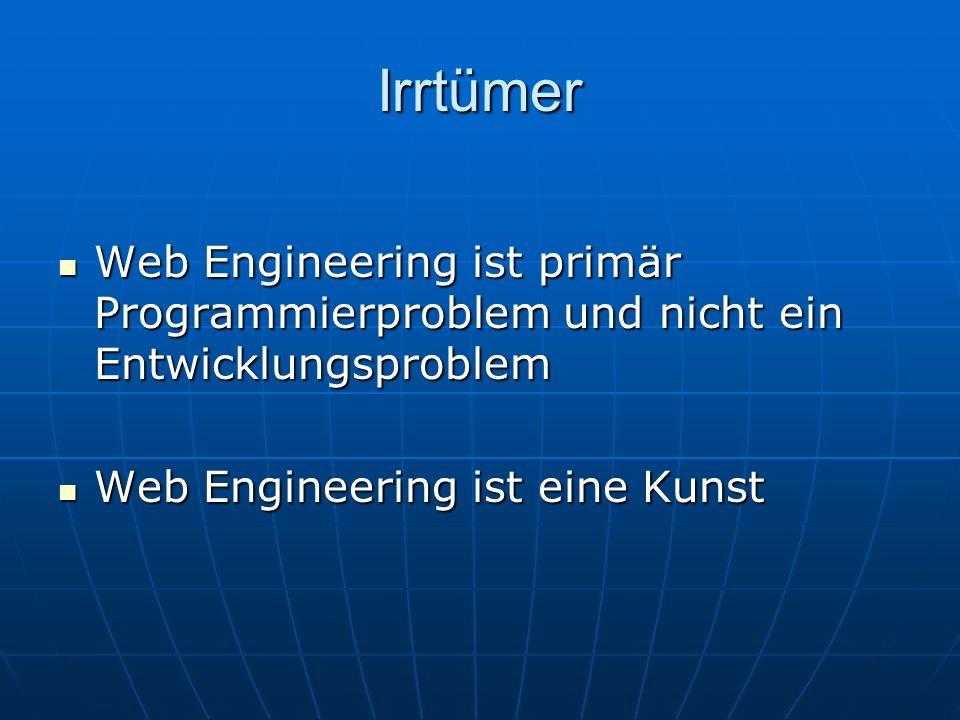 Irrtümer Web Engineering ist primär Programmierproblem und nicht ein Entwicklungsproblem Web Engineering ist primär Programmierproblem und nicht ein Entwicklungsproblem Web Engineering ist eine Kunst Web Engineering ist eine Kunst