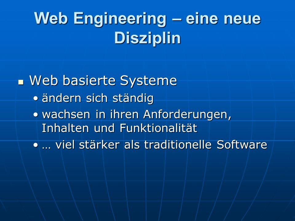 Web Engineering – eine neue Disziplin Web basierte Systeme Web basierte Systeme ändern sich ständigändern sich ständig wachsen in ihren Anforderungen, Inhalten und Funktionalitätwachsen in ihren Anforderungen, Inhalten und Funktionalität … viel stärker als traditionelle Software… viel stärker als traditionelle Software