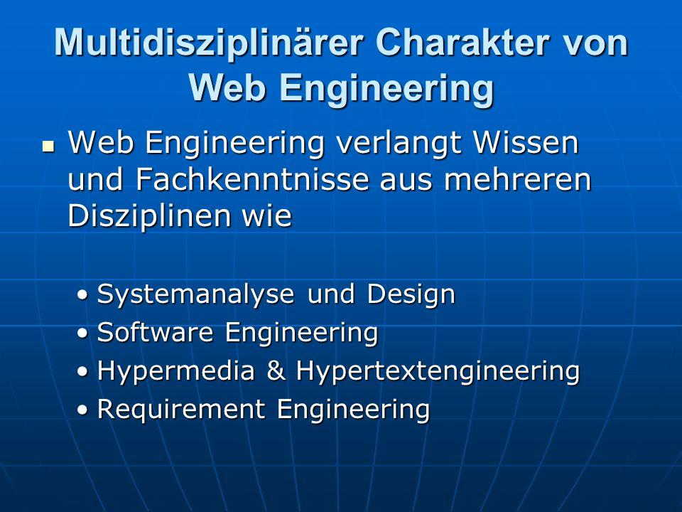 Multidisziplinärer Charakter von Web Engineering Web Engineering verlangt Wissen und Fachkenntnisse aus mehreren Disziplinen wie Web Engineering verlangt Wissen und Fachkenntnisse aus mehreren Disziplinen wie Systemanalyse und DesignSystemanalyse und Design Software EngineeringSoftware Engineering Hypermedia & HypertextengineeringHypermedia & Hypertextengineering Requirement EngineeringRequirement Engineering