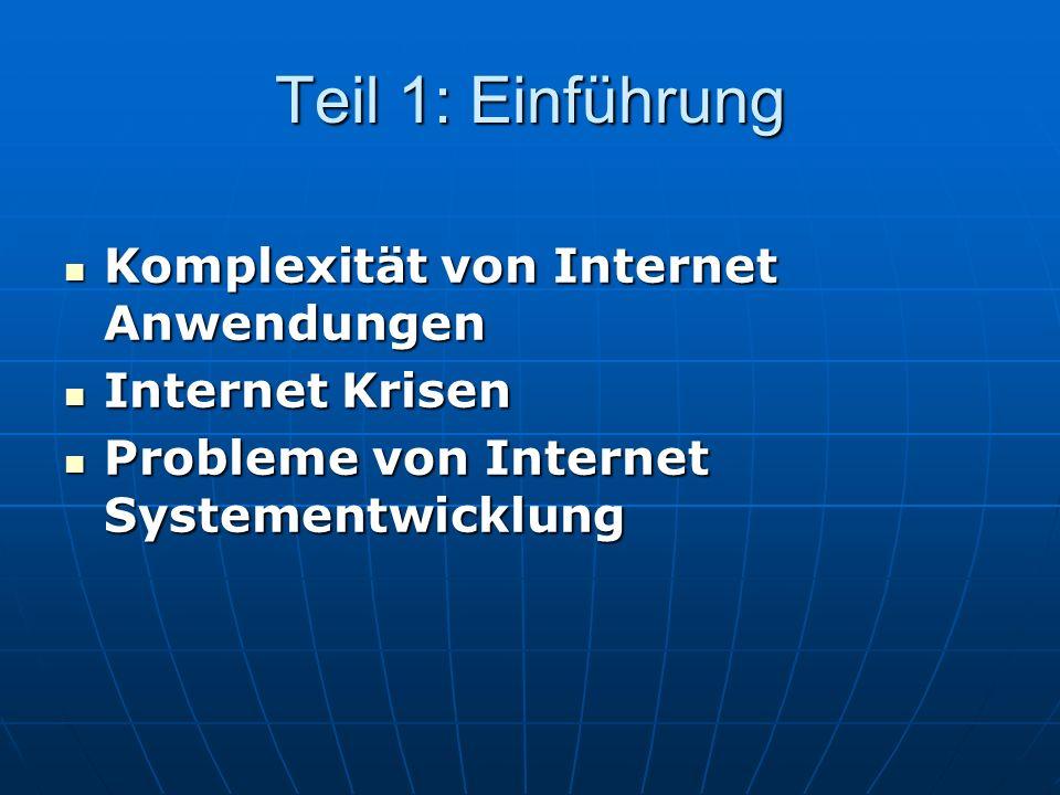 Teil 1: Einführung Komplexität von Internet Anwendungen Komplexität von Internet Anwendungen Internet Krisen Internet Krisen Probleme von Internet Systementwicklung Probleme von Internet Systementwicklung