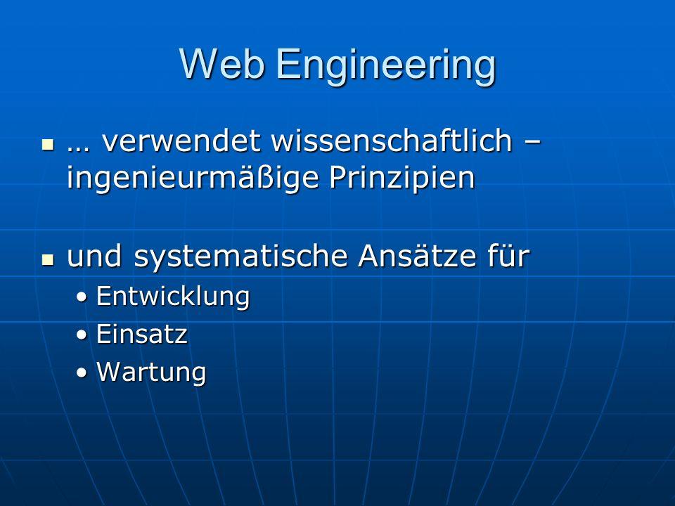 Web Engineering … verwendet wissenschaftlich – ingenieurmäßige Prinzipien … verwendet wissenschaftlich – ingenieurmäßige Prinzipien und systematische Ansätze für und systematische Ansätze für EntwicklungEntwicklung EinsatzEinsatz WartungWartung
