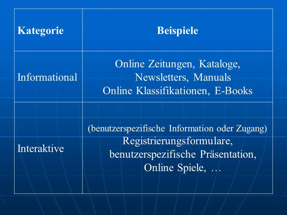 KategorieBeispiele Informational Online Zeitungen, Kataloge, Newsletters, Manuals Online Klassifikationen, E-Books Interaktive (benutzerspezifische Information oder Zugang) Registrierungsformulare, benutzerspezifische Präsentation, Online Spiele, …