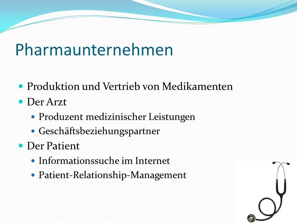 Pharmaunternehmen Produktion und Vertrieb von Medikamenten Der Arzt Produzent medizinischer Leistungen Geschäftsbeziehungspartner Der Patient Informat