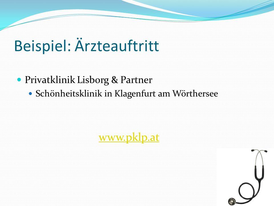 Beispiel: Ärzteauftritt Privatklinik Lisborg & Partner Schönheitsklinik in Klagenfurt am Wörthersee www.pklp.at