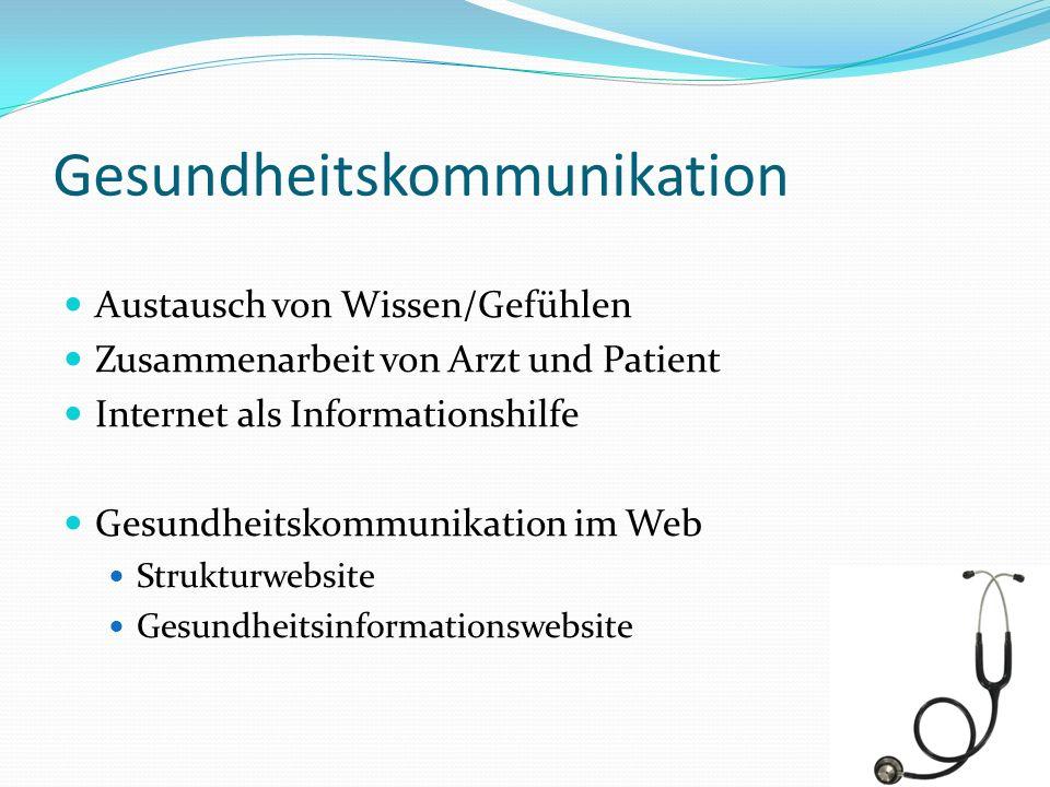 Gesundheitskommunikation Austausch von Wissen/Gefühlen Zusammenarbeit von Arzt und Patient Internet als Informationshilfe Gesundheitskommunikation im