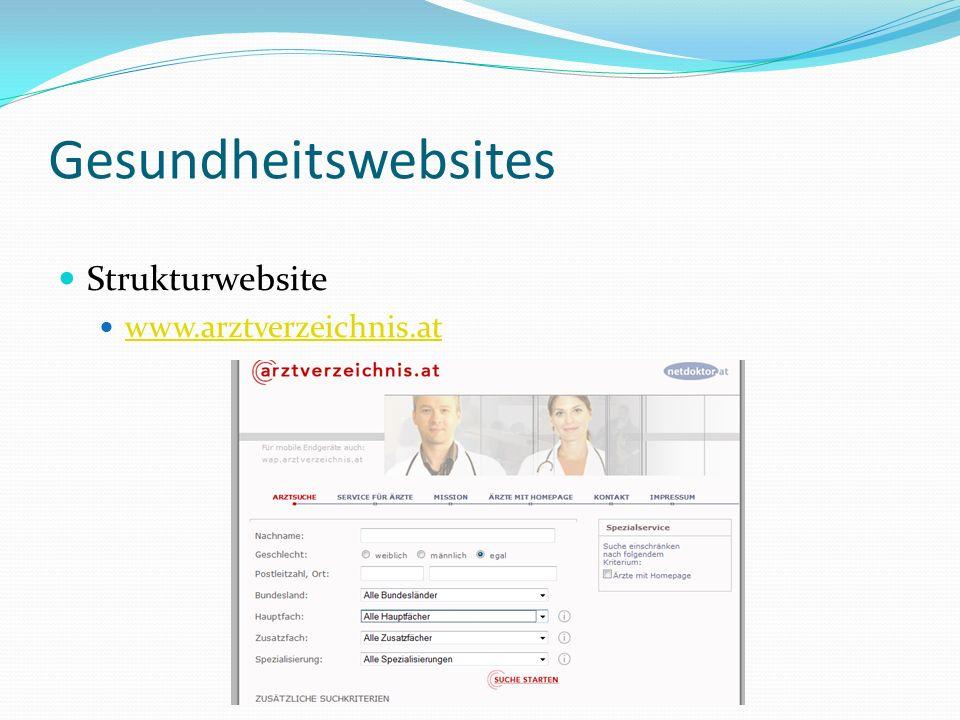 Gesundheitswebsites Strukturwebsite www.arztverzeichnis.at