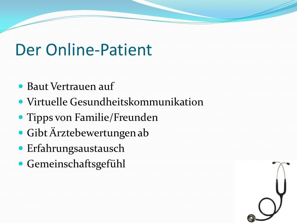 Der Online-Patient Baut Vertrauen auf Virtuelle Gesundheitskommunikation Tipps von Familie/Freunden Gibt Ärztebewertungen ab Erfahrungsaustausch Gemei