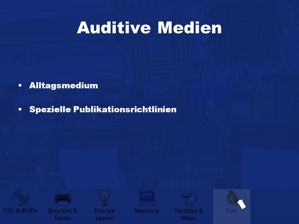 Auditive Medien Alltagsmedium Spezielle Publikationsrichtlinien